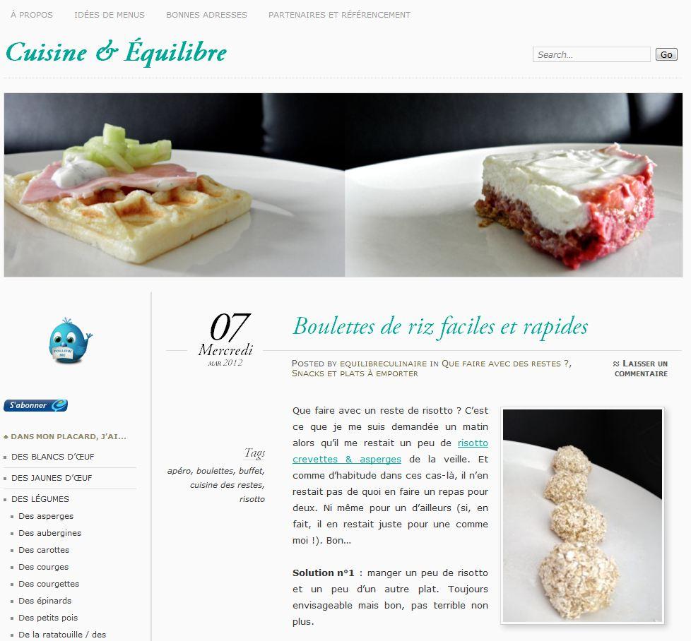 Cuisine quilibre for Site de cuisine